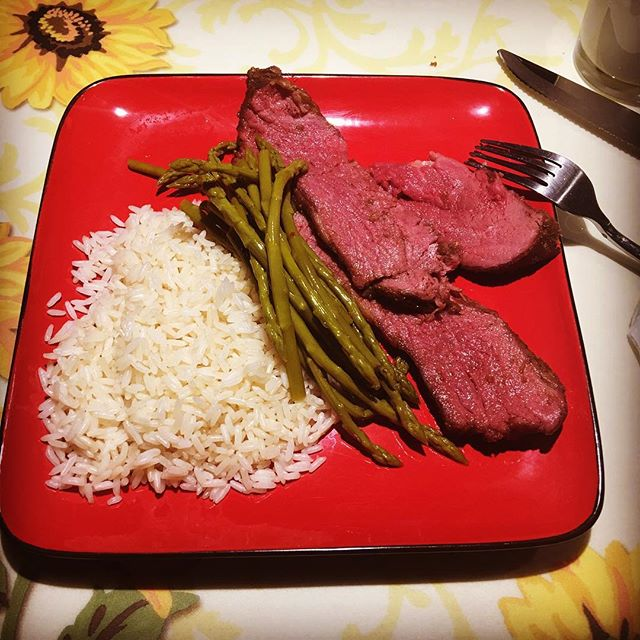 Dinner time. White rice and Smoked Tri-Tip with marinated asparagus