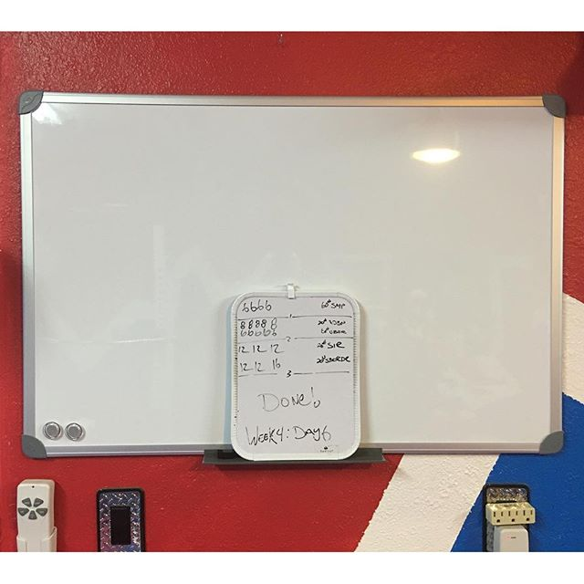 Upgraded the dry erase board that I use to keep track of my workouts. Went from 8.5 x 11 inches up to 24 x 36 inches!!! The old one is resting on the shelf for the markers.. Plus the new is magnetic too!