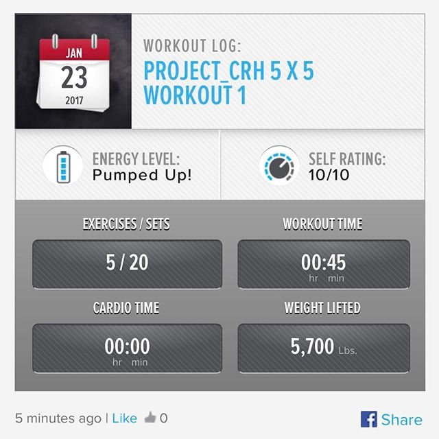 4th Week In… 1st workout of the week.