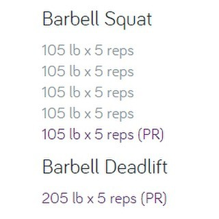 This might not seem big to some, but this is huge for me... I went from not being able to do a regular squat, to being able to doing 5 sets of 105lbs for 5 reps each set.  And being able to pull a 205lb Deadlift is pretty amazing for me too. I am sure I can do more, but I am taking it slow.  Excited for the progress I have made in the last couple of years  #workinprogress