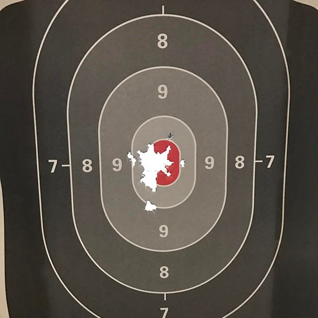 Had Some Lunchtime Target Therapy with my Smith & Wesson Shield 9mm today. Yesterday I had the gunsmith adjust my rear sight back to center and put some threadlocker on the screw. I am very happy with it now. I am also loving the @hyvetechnologies magazine extensions I have got my shield.