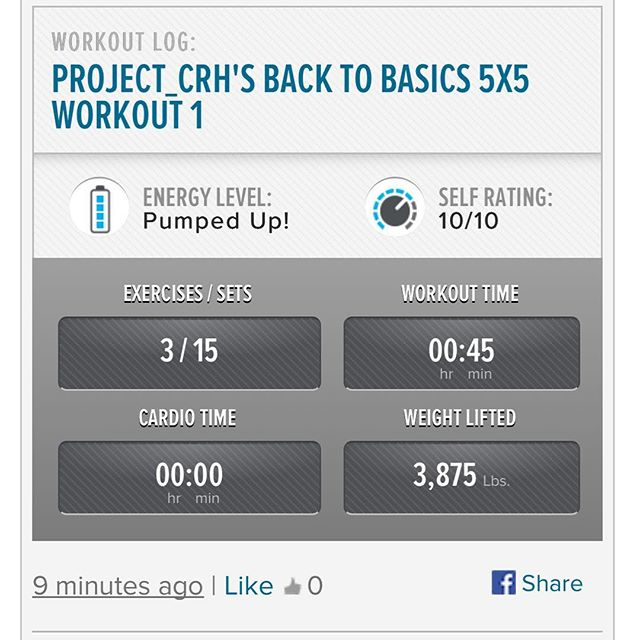 1st workout of the week.  Starting back in the gym slowly. 