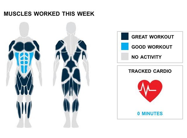 "Weekly Recap from bodybuilding.com for last week!  ABDOMINALS There is no better feeling than having an extraordinary week at the gym. You did twice your average number of ab exercises this week, hitting two. You did a total of four sets too. Hanging leg raise, which you did for a total of two sets, was your primary lift.  CHEST You typically average one chest exercise, but this week you said, """"forget that,"""" and did a killer two exercises. It wasn't the top priority, but you still managed a solid chest week, which made up 18% of your overall workout. Barbell bench press - medium grip was your top chest lift. It accounted for more than half of your total chest sets. In those sets, you managed to average an awesome 100 lbs. per set!  BICEPS You went full-dom with two bicep exercises and four sets, both of which are way above your weekly averages. Ez-bar curl was your lone bicep lift, but you did crush the exercise, lifting an average of 63 lbs. per set.  NOTES: *You had one hell of a quad week. You hit a new personal high in total weight lifted this week with 2,325 lbs. *Your quads just keep growing with your average barbell full squat weight going from 100 lbs. to 155 lbs. in the last month. *Way to get after it. Your four bicep sets from this week are better than your three-month weekly average. *The last few weeks of hamstring work have clearly been paying off with your strength increasing quickly. Impressive!   #workinprogress"