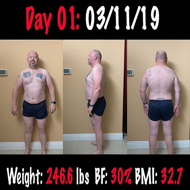 Starting point for My 90 Day Challenge : Round 2.  Weight: 246.6 lbs  BF: 30% BMI: 32.7  Let's what these numbers look like 90 Days from now!  #workinprogress