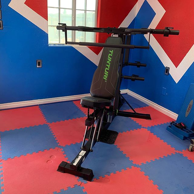 Added a new piece of Equipment into our home gym. We got the TUNTURI LEVERAGE GYM WT80.  #workinprogress
