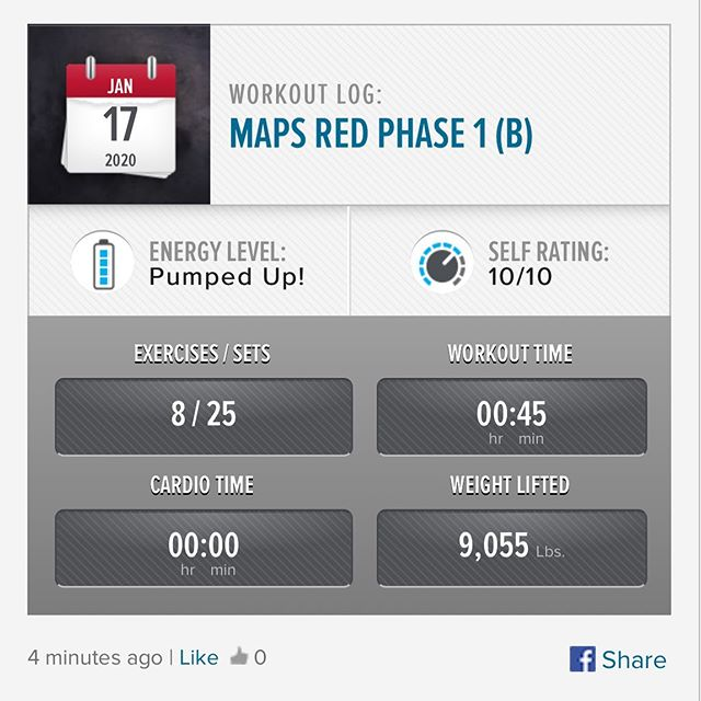 Last workout of the week and last workout of MAPS Red Phase 1 is done! On to Phase 2 Monday! #workinprogress