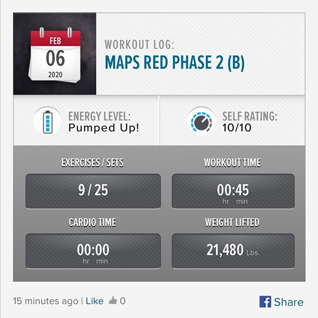Last foundational workout of MAPS Red Phase is in the books! Next week it's on to Phase 3 😮 #workinprogress