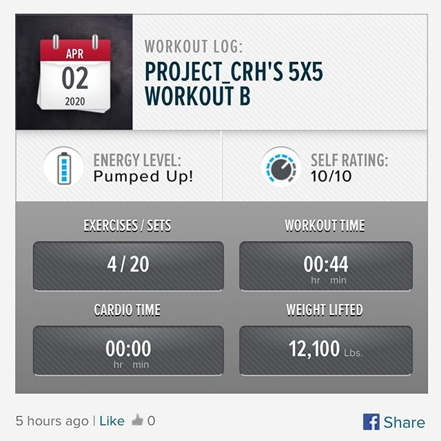 Second 5x5 workout of the week has been done! #workinprogress